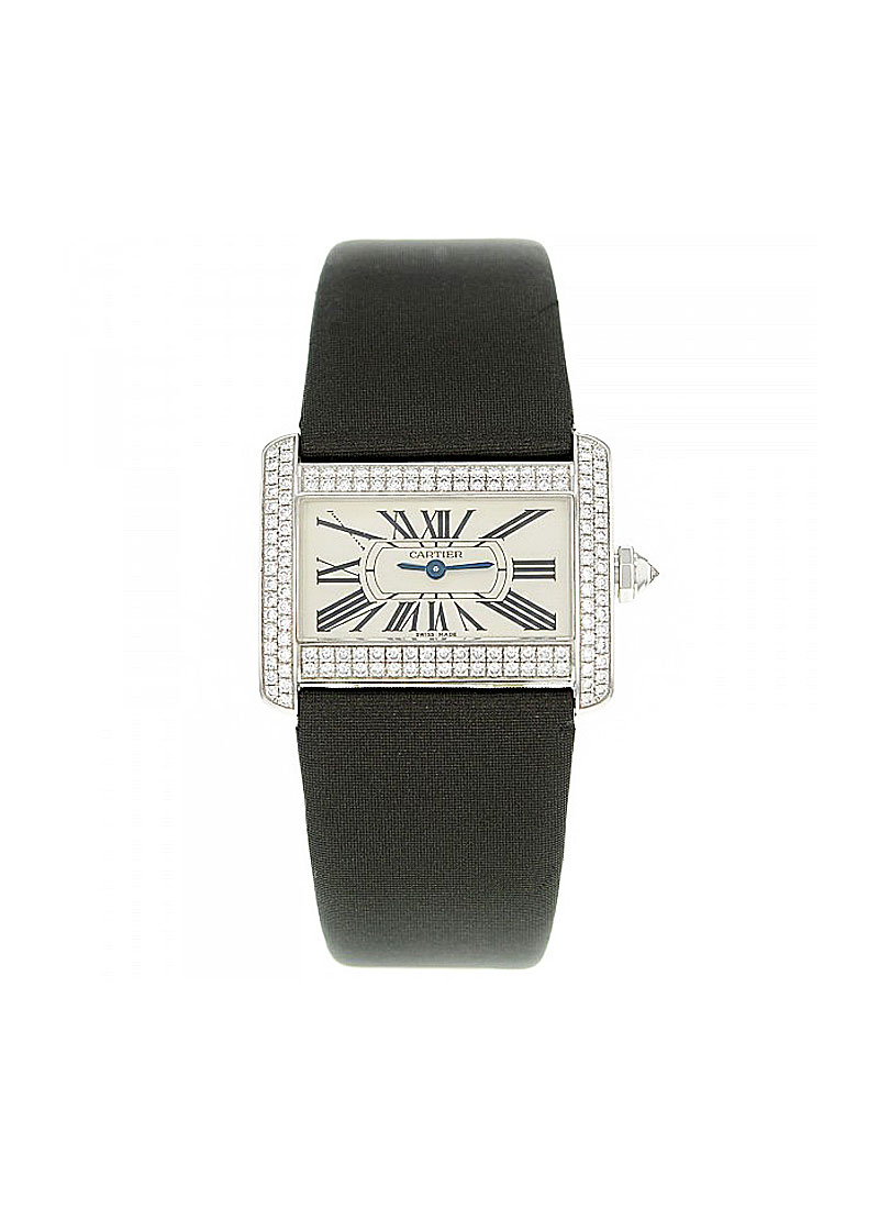 Cartier Tank Mini DIvan  in White Gold with Diamond Bezel