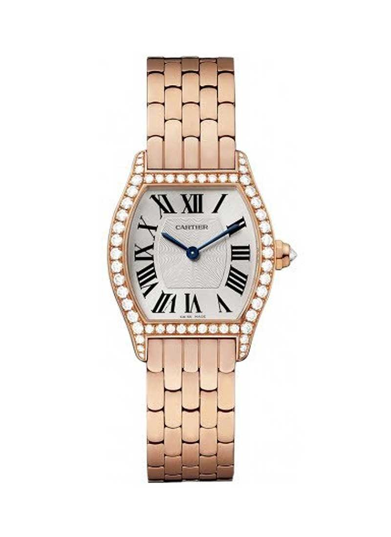 Cartier Tortue Ladies Small in Rose Gold with Diamond Bezel