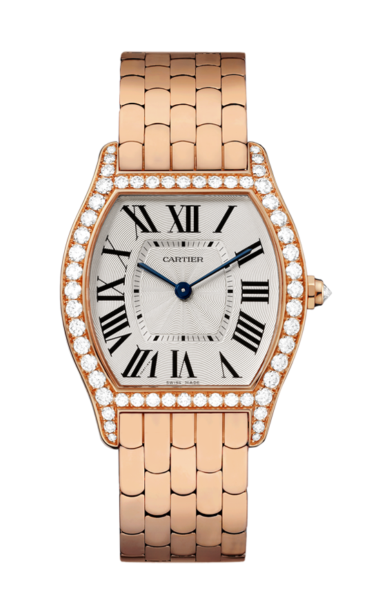 Cartier Tortue Ladies Manual in Rose Gold with Diamond Bezel