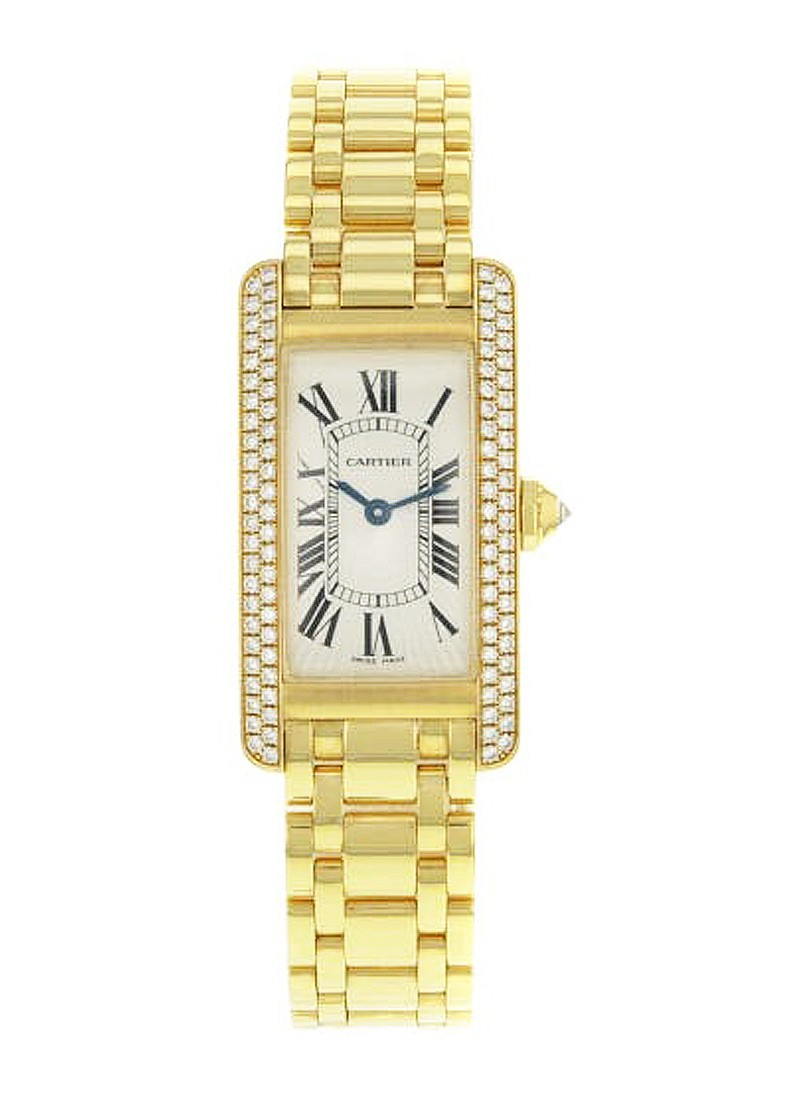 Cartier Tank Americaine Ladies Quartz in Yellow Gold with Diamond Bezel