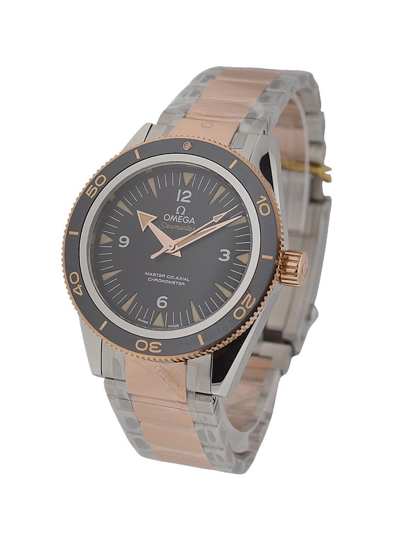 Omega Seamaster 300 Master Co axial Automatic in 2 Tone with Black Bezel