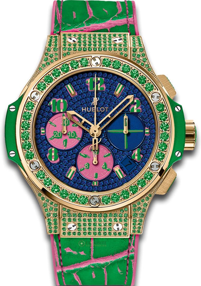 Hublot Big Bang Pop Art Apple in Yellow Gold with Green Diamond Bezel