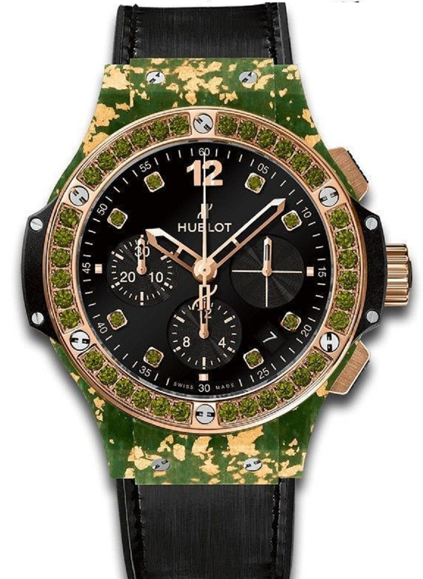 Hublot Big Bang Gold Linen in Rose Gold with Green GemStone Bezel