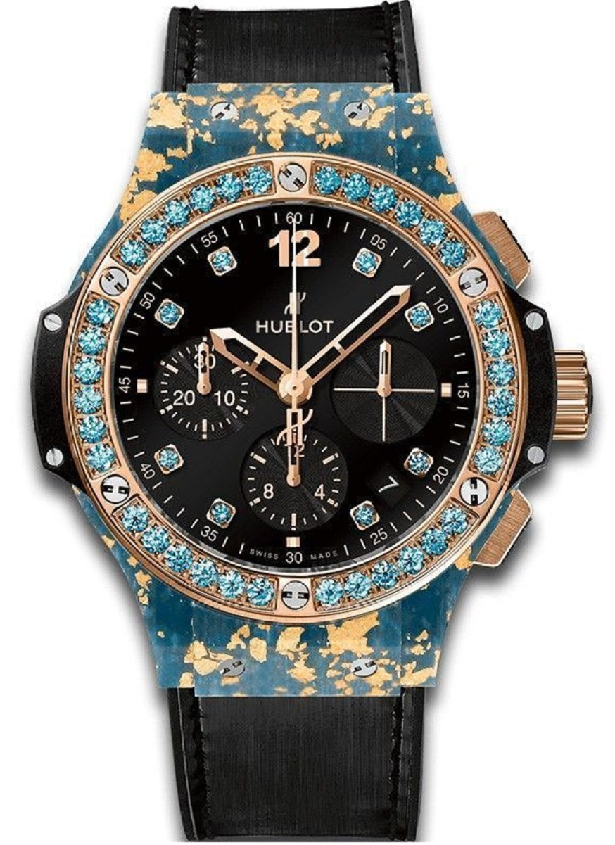 Hublot Big Bang Gold Linen Blue in Rose Gold with Blue GemStone Bezel