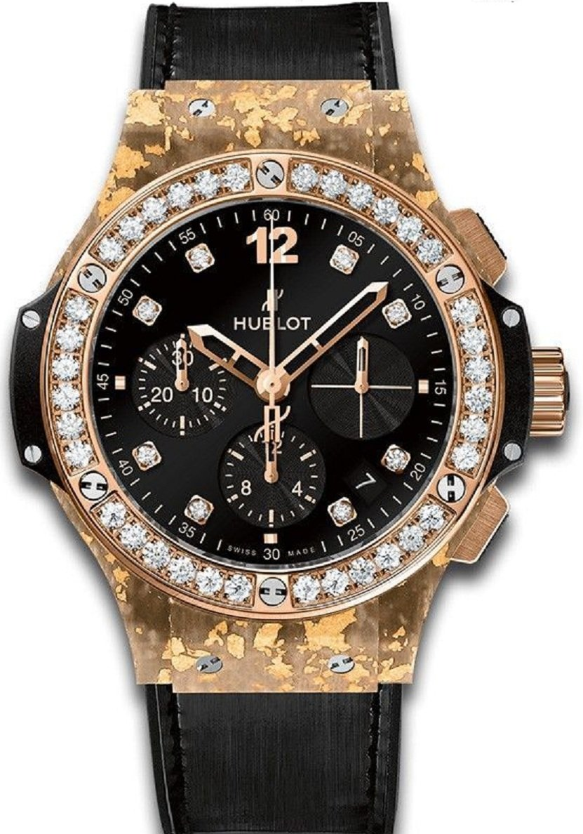 Hublot Big Bang Gold Linen Natural Gold in Rose Gold with Diamond Bezel