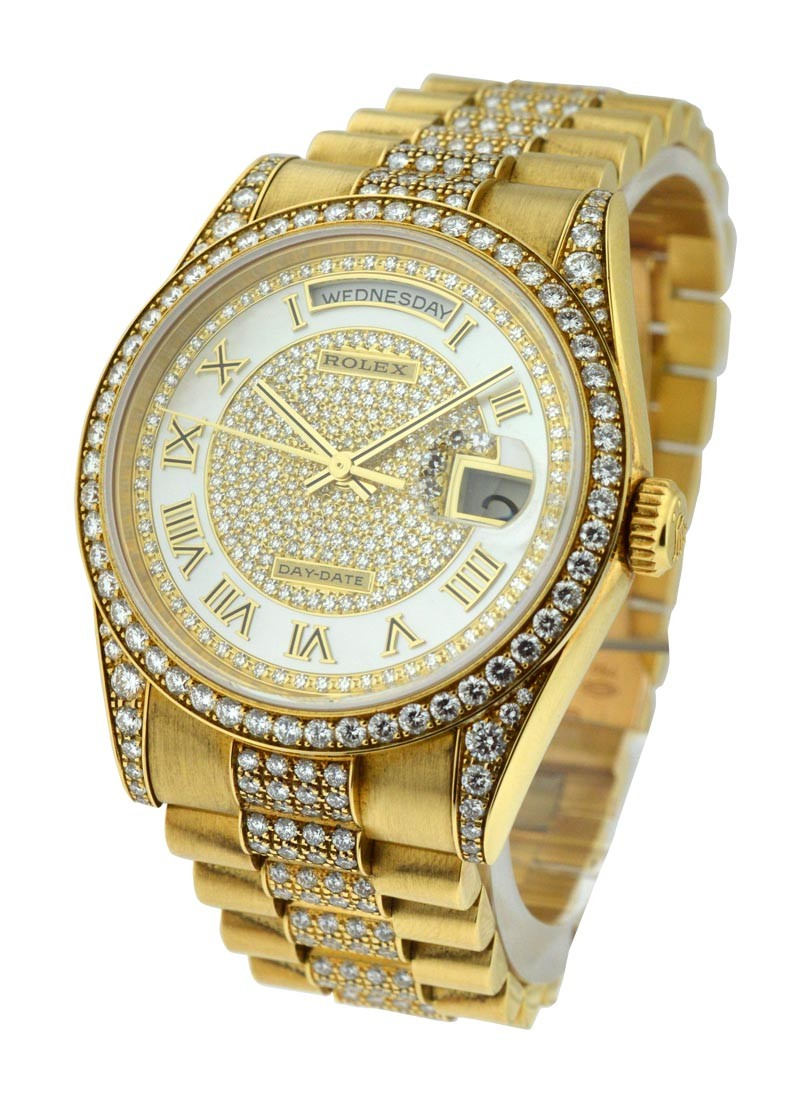 All Original Super President , Day,Date , 36mm , Yellow Gold , Diamonds  Bezel