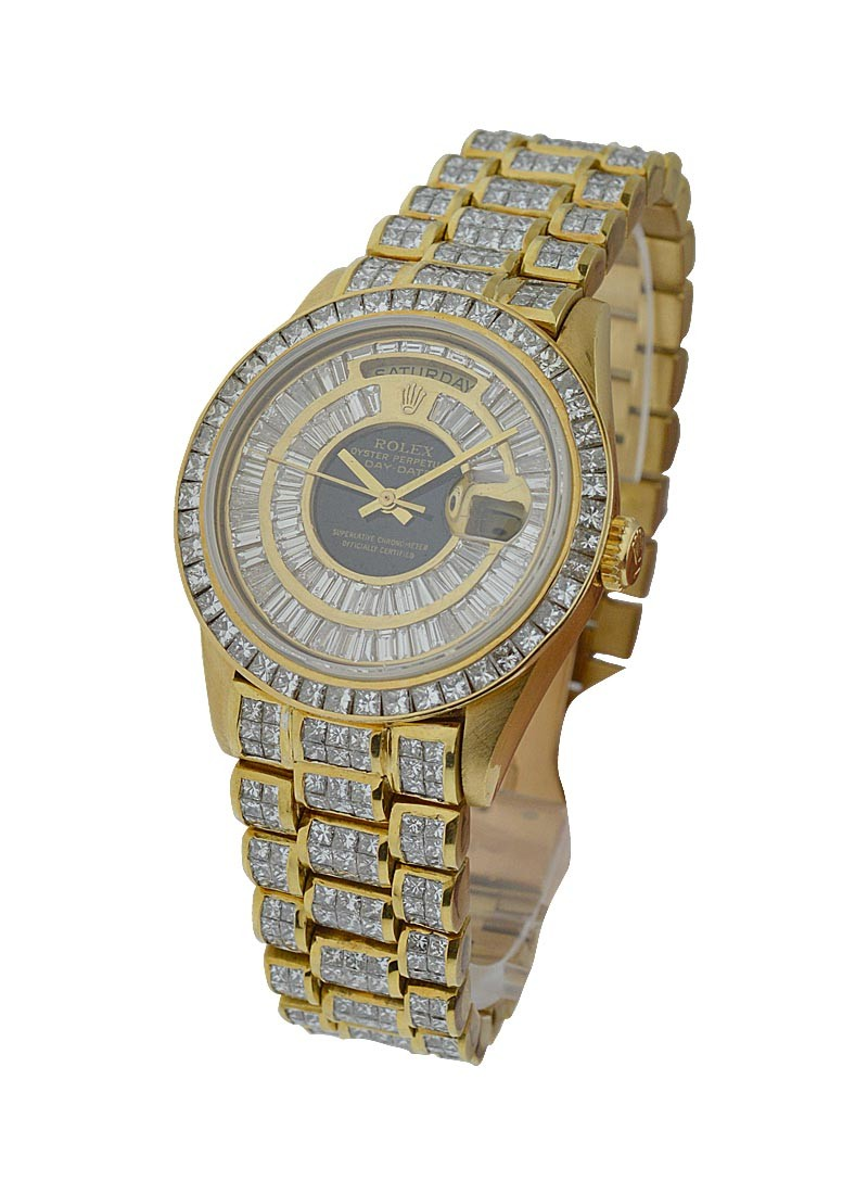 Pre-Owned Rolex President - 36mm - Yellow Gold - Baguette Diamond Bezel