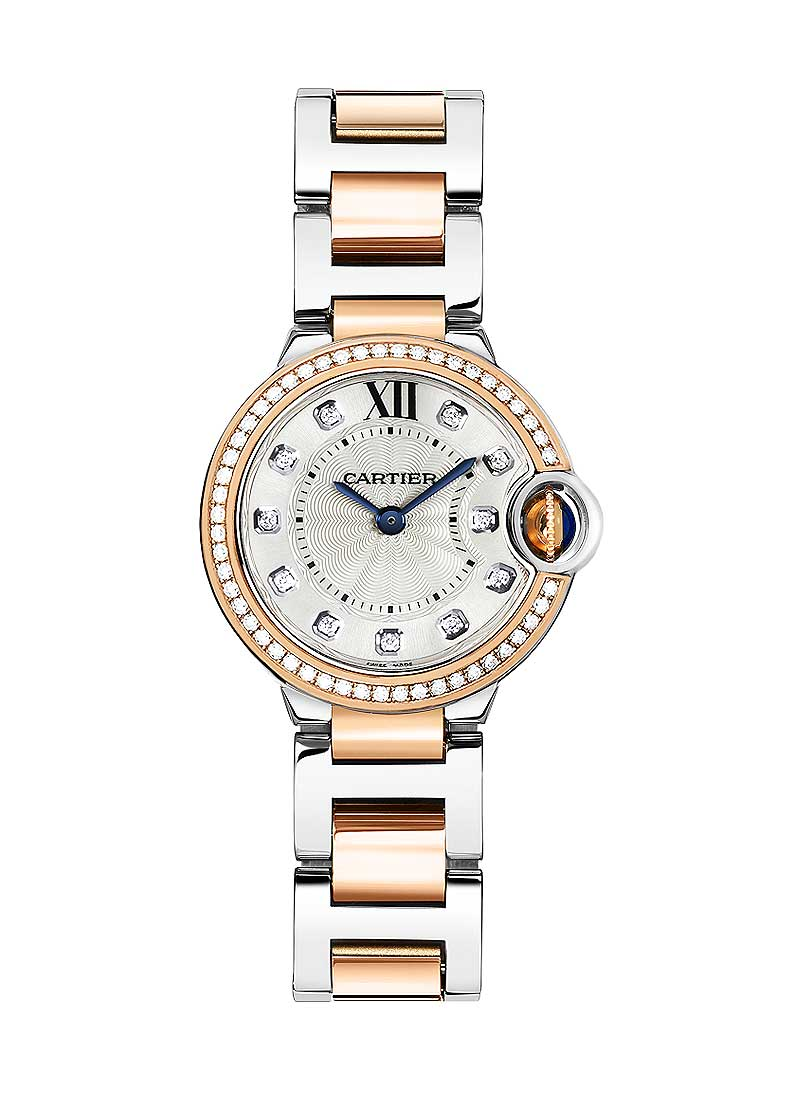 Cartier Ballon Bleu Ladies 28mm in Rose Gold with Diamond Bezel
