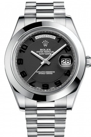 Rolex Used Day Date II President Platinum with Polished Bezel