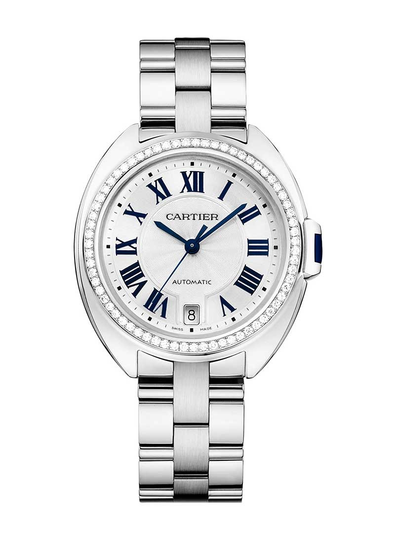 Cartier Cle de Cartier Ladies 3mm Automatic in White Gold - Diamond bezel
