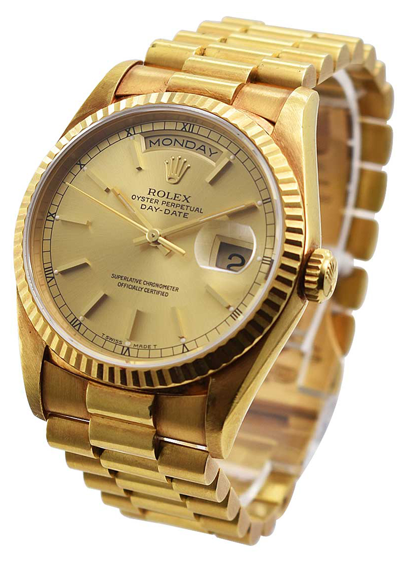 Pre-Owned Rolex President 36mm Day Date in Yellow Gold with Fluted Bezel