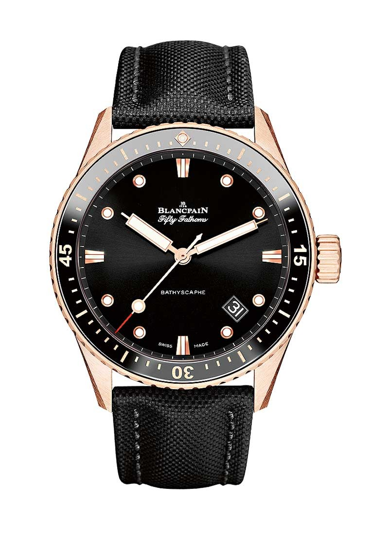 Blancpain Fifty Fathoms Bathyscaphe in Rose Gold with Black Ceramic Bezel