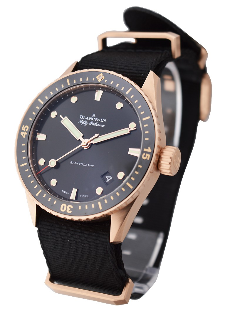 Blancpain Fifty Fathoms Bathyscaphe Mens 43mm in Rose Gold with Ceramic Insert
