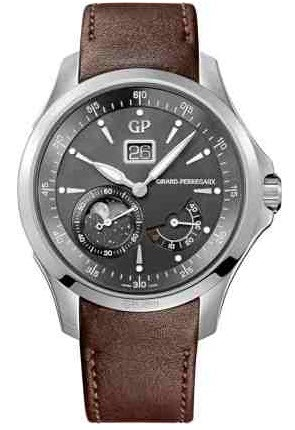 Girard Perregaux Traveller Large Date Moonphases Mens 44mm Automatic in Steel