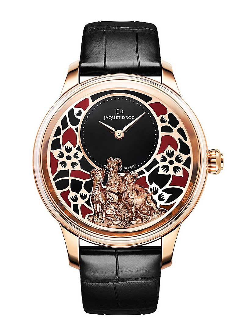 Jaquet Droz Petite Heure Minute Relief Goats Mens 41mm Automatic in Rose Gold
