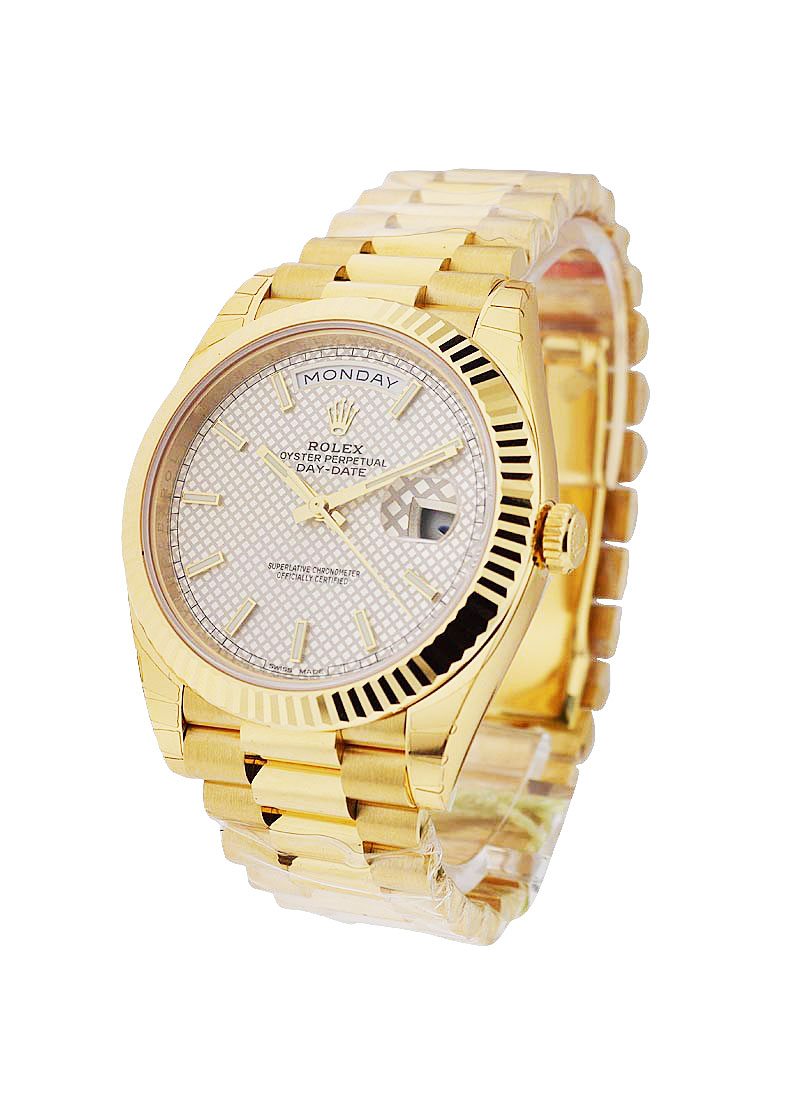 Rolex Unworn President Day Date 40mm in Yellow Gold with Fluted Bezel