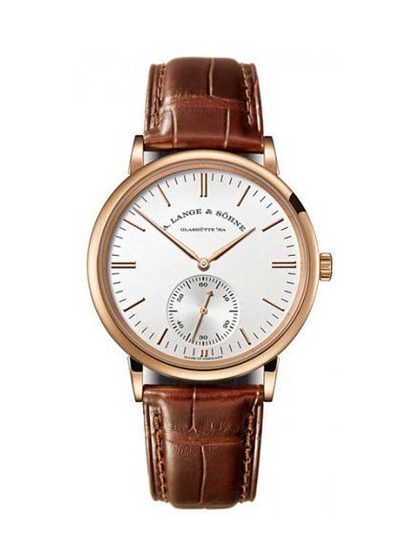 A. Lange & Sohne Saxonia Mens 38.5mm Automatic in Rose Gold