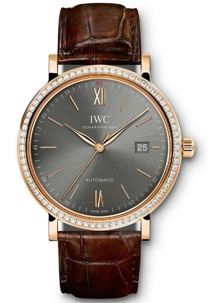 IWC Portofino Boutique Mens 40mm Automatic in Rose Gold with Diamond Bezel