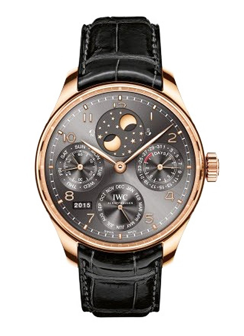 IWC Portugieser Perpetual Calendar Perpetual Double Moonphase Mens Automatic in Rose Gold