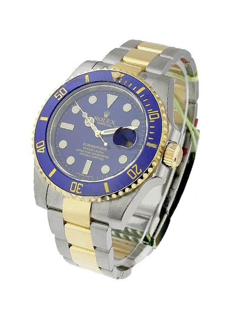 Pre-Owned Rolex 2-Tone Submariner with Yellow Gold Engraved Bezel