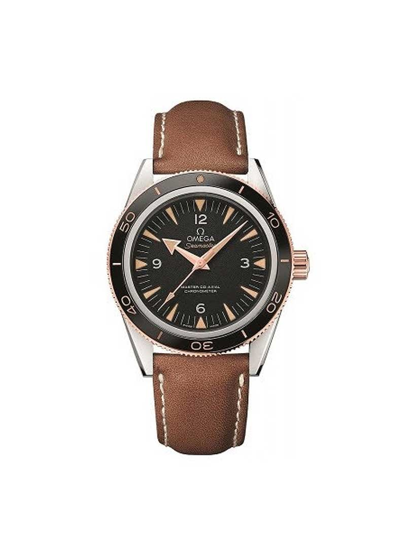 Omega Seamaster 300 Master Co-Axial Mens 41mm Automatic in Steel with Rose Gold Gold Fluted Bezel