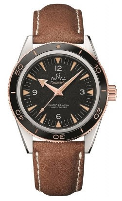Omega Seamaster 300 Master Co Axial Mens 41mm Automatic in Steel with Rose Gold Gold Fluted Bezel