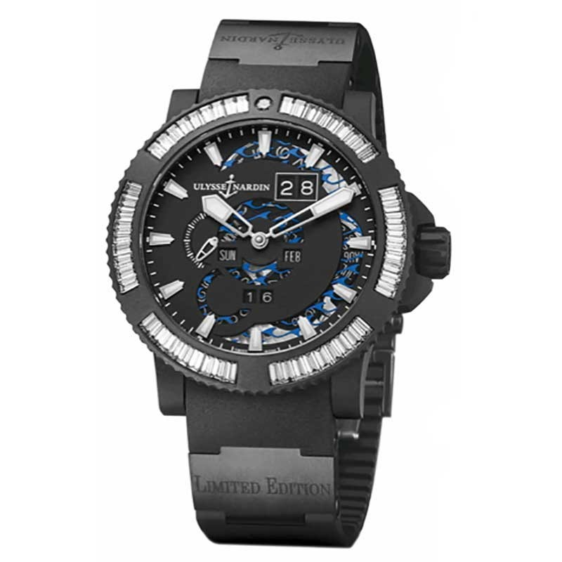 Ulysse Nardin Marine Perpetual in Black DLC Steel with Rubber Coated Baguette Diamond Bezel