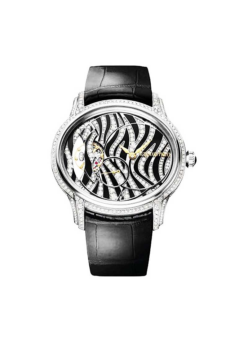 Audemars Piguet Millenary Zebra Pattern Ladies 39.5mm Manual in White Gold with Diamonds