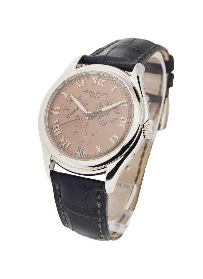 main silvery patek watch annual rose calendar on dial philippe gold watches essential bracelet
