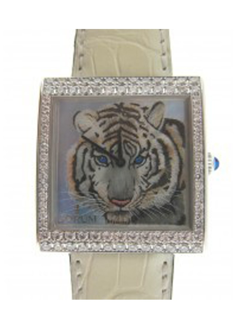 Corum Artisan Buckingham Tiger  2 Row in White Gold With Diamond Bezel