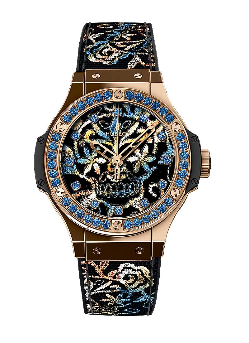 Hublot Big Bang Broderie Sugar Skull Mens 41mm Automatic in Black Ceramic