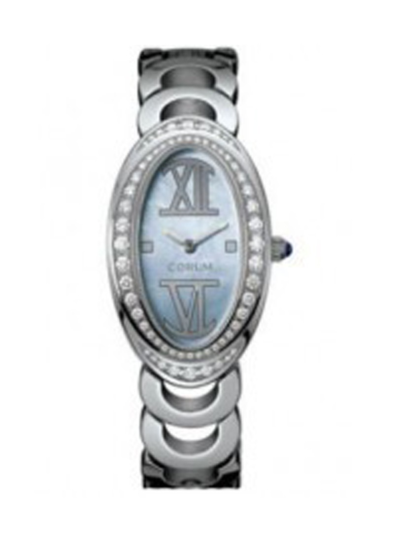 Corum Oval in White Gold with Diamond Bezel