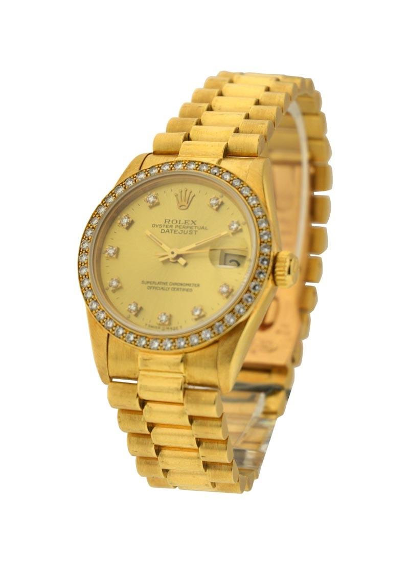 Rolex Used Yellow Gold Mid Size Datejust  with Diamond Bezel