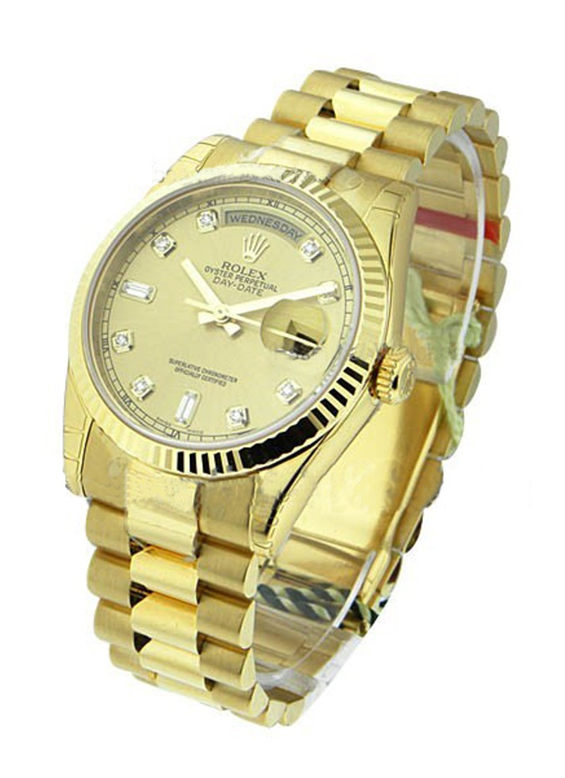 Pre-Owned Rolex Day-Date President 36mm in Yellow gold with Fluted Bezel