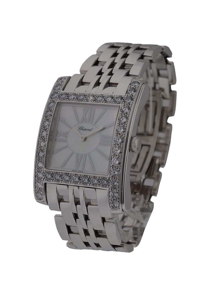 Chopard H Watch White Gold with Diamond Bezel