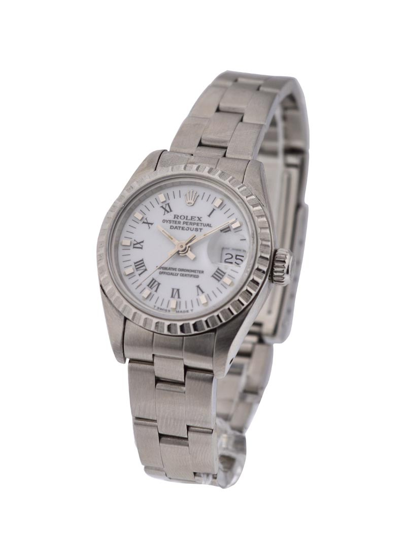 Rolex Used Ladys Datejust in Steel with Engine Bezel