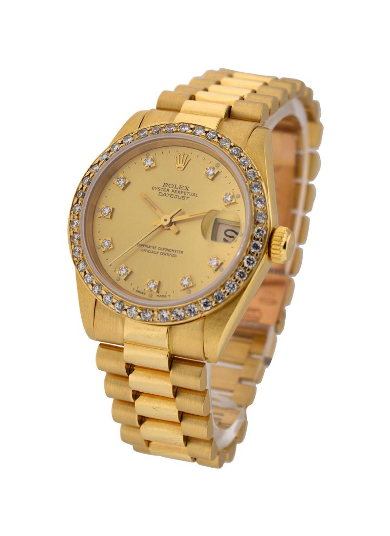 Rolex Used Midsize 31mm President in Yellow Gold with  Custom Diamond Bezel