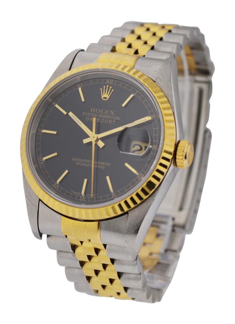 Rolex Used 2 Tone Mens Datejust   Fluted Bezel