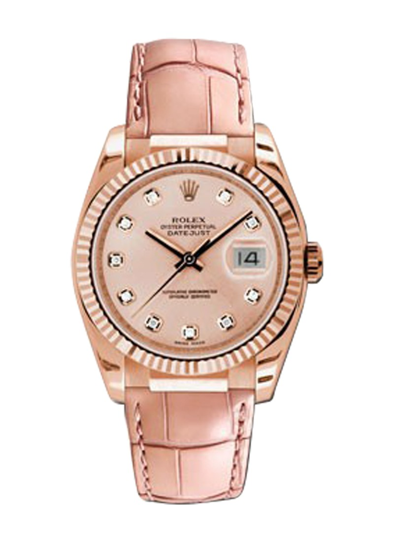 Rolex Used Datejust 36mm Automatic in Rose Gold   Fluted Bezel