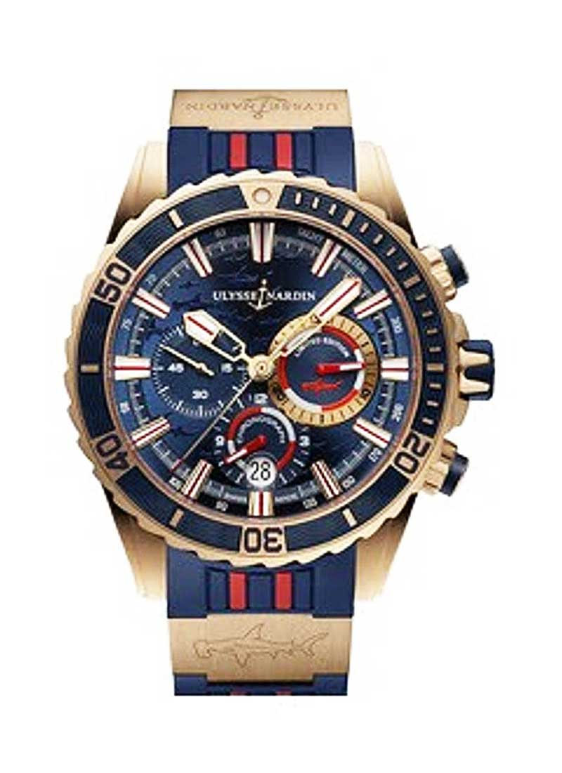 Ulysse Nardin Marine Diver Chronograph  Hammerhead Shark 44mm  in Rose Gold