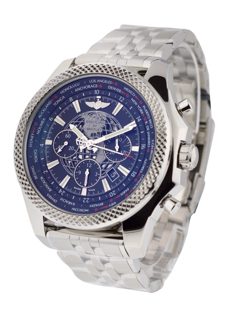 breitling pin blue chronograph dial bentley watch stainless steel luxurysportstyles motors