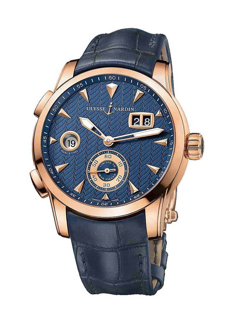 Ulysse Nardin Dual Time Mens 42mm Automatic in Rose Gold