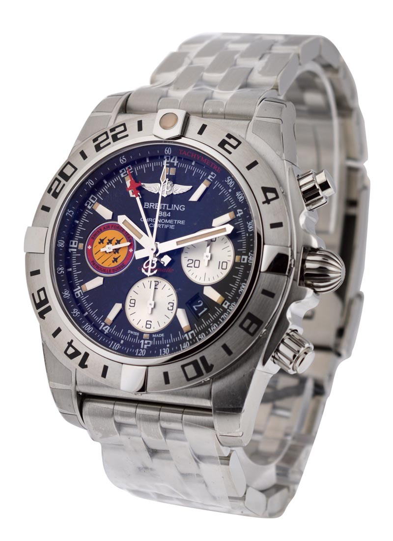 Breitling Chronomat 44 GMT Patrouille de Suisse in Steel   50TH Anniversary