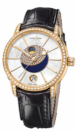 Ulysse Nardin Clasico Lady Luna 35mm Automatic in Rose Gold with Diamond Bezel