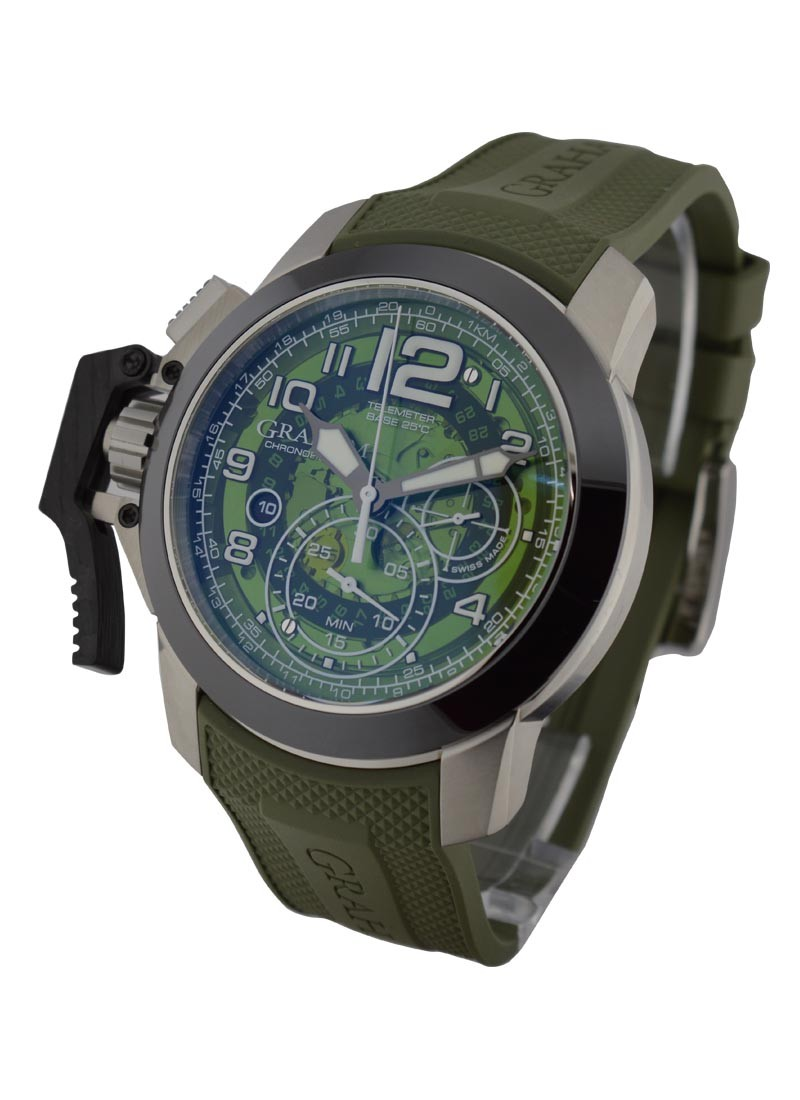 Graham Chronofighter Oversize Target Green in Steel with Ceramic Bezel