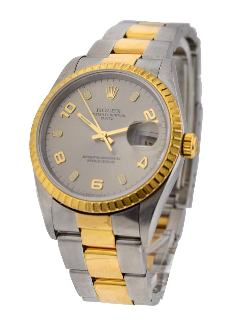 Rolex Used Date in Steel with Yellow Gold Fluted Bezel