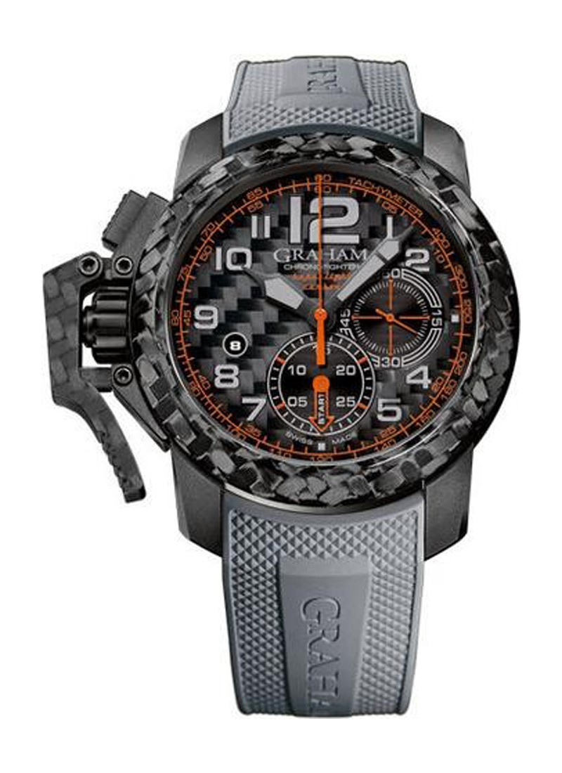 Graham Chronofighter Oversize Super Light Grey Orange in Carbon Fiber   Limited Edition of  50 Pcs