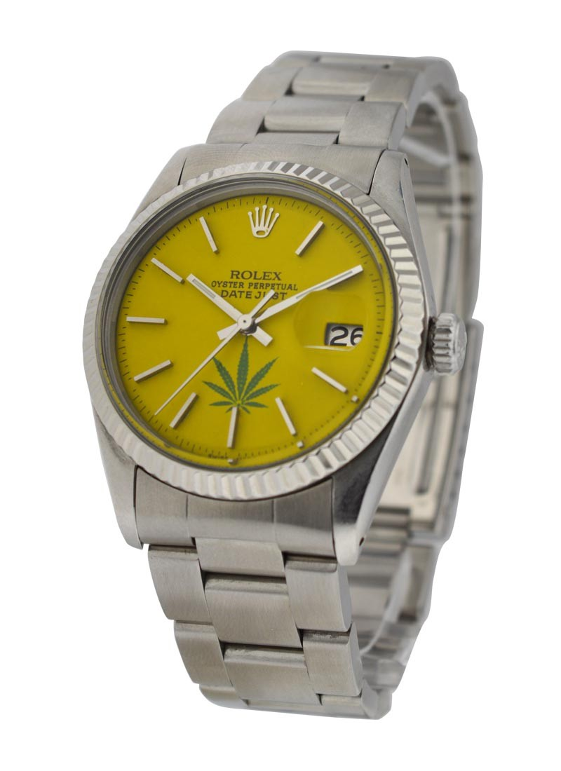 Rolex Used Datejust with Yellow Dial with Marijuana Leaf