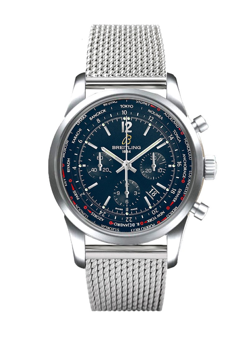 Breitling Transocean Chronograph Unitime Pilot in Steel