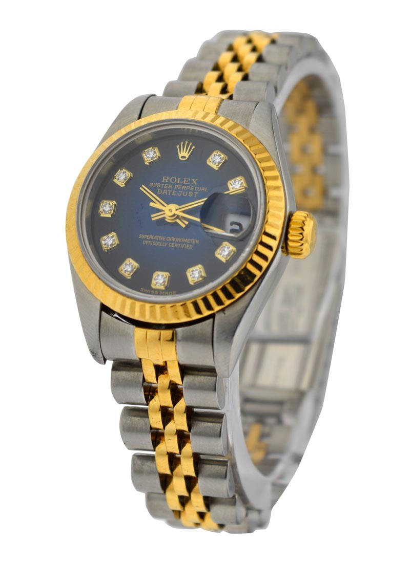 Rolex Used 2 Tone Ladies  DATEJUST with Blue Vignette Diamond Dial